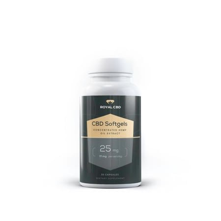 Royal CBD softgel with organic capsules in white